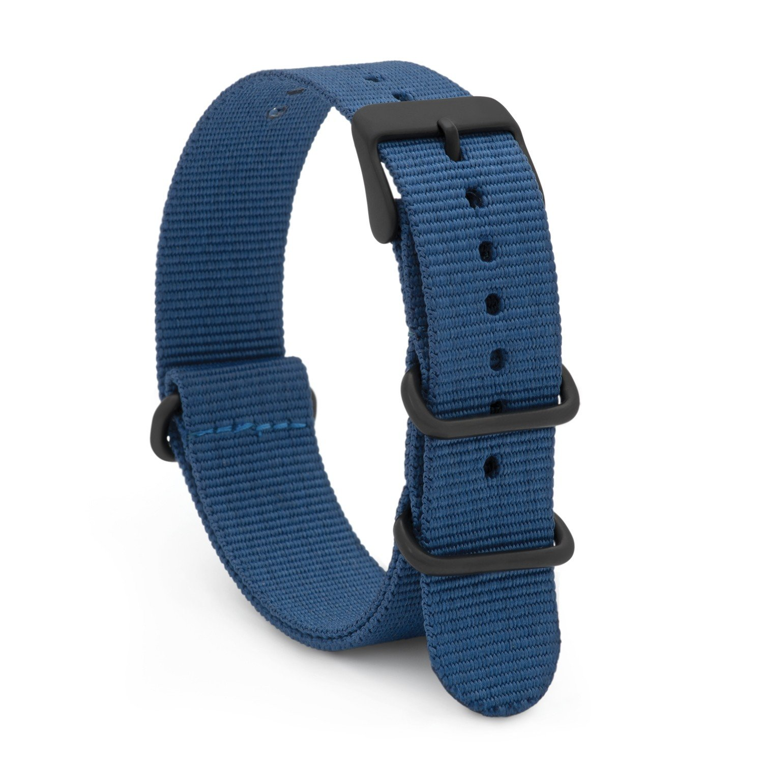 Speidel NATO Watch Band 20mm Blue Woven Military Style Nylon Strap with Heavy Duty Stainless Steel Keepers and Buckle