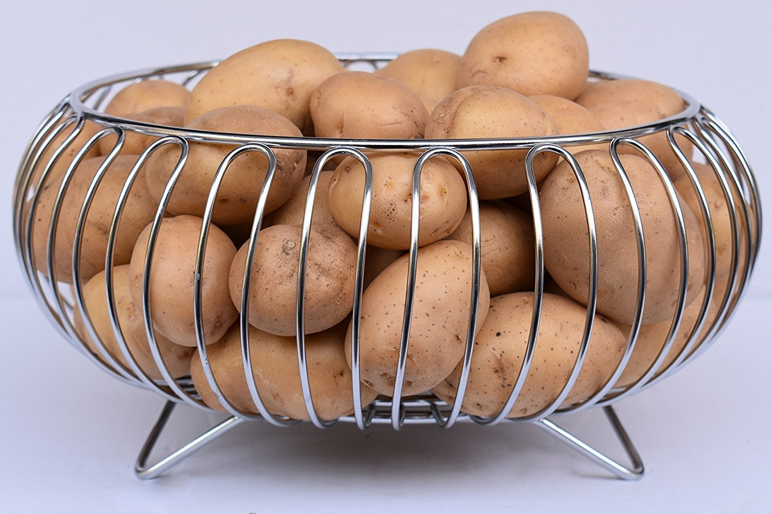 Heavy Stainless Steel Vegetable and Fruit Bowl Basket - Nickel Chrome Plated