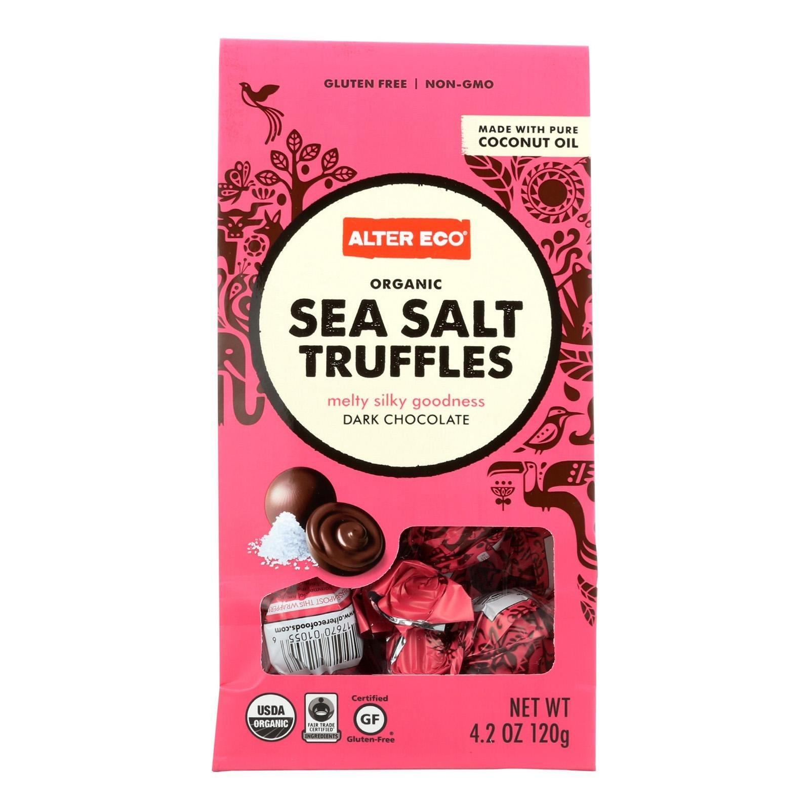 Alter Eco Americas Organic Dark Chocolate Sea Salt Truffles, 4.2 Ounce - 10 per pack -- 8 packs per case.