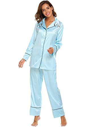 16c094d6db Image Unavailable. Image not available for. Color  Etuoji Women s Comfort  Satin Sleepwear Long Sleeve Pajama with Pj Set Embroidery Collar