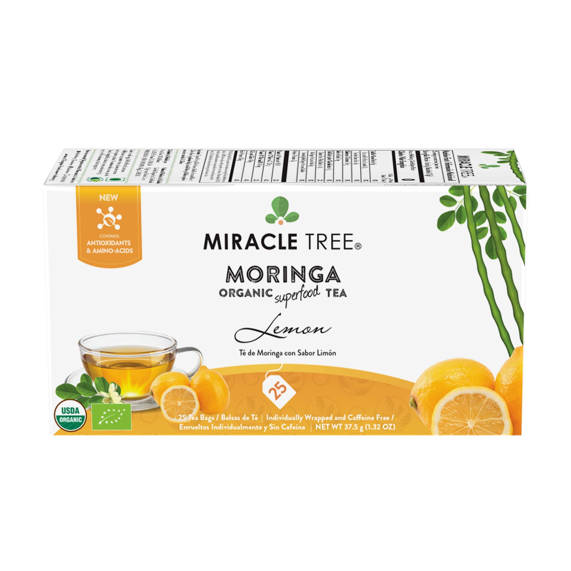 Miracle Tree - Organic Moringa Superfood Tea, 25 Individually Sealed Tea Bags, Lemon