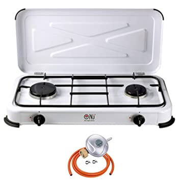 nj-02 Camping estufa de gas quemador de 2 portátil esmalte blanco tapa exterior + butano de Gas licuado regulador Set: Amazon.es: Hogar