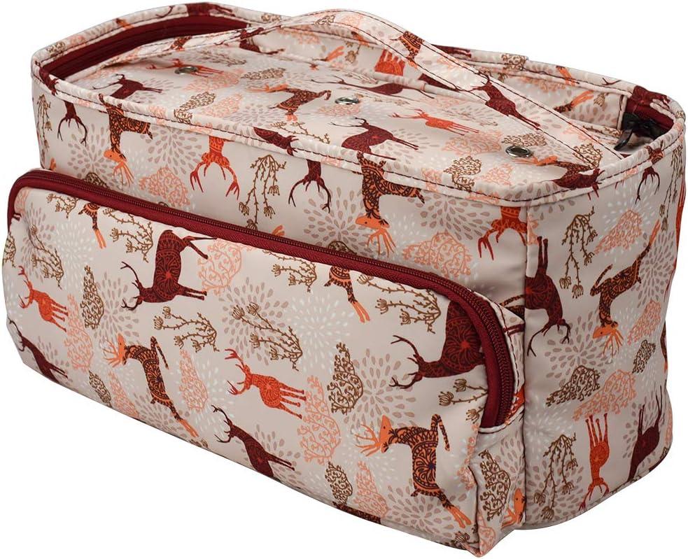 suministros de costura para el hogar #4130 Flor de peon/ía. CNSSKJ Bolsa de tejer de tama/ño grande ganchillo bolsa de almacenamiento de hilo port/átil para agujas de tejer accesorios
