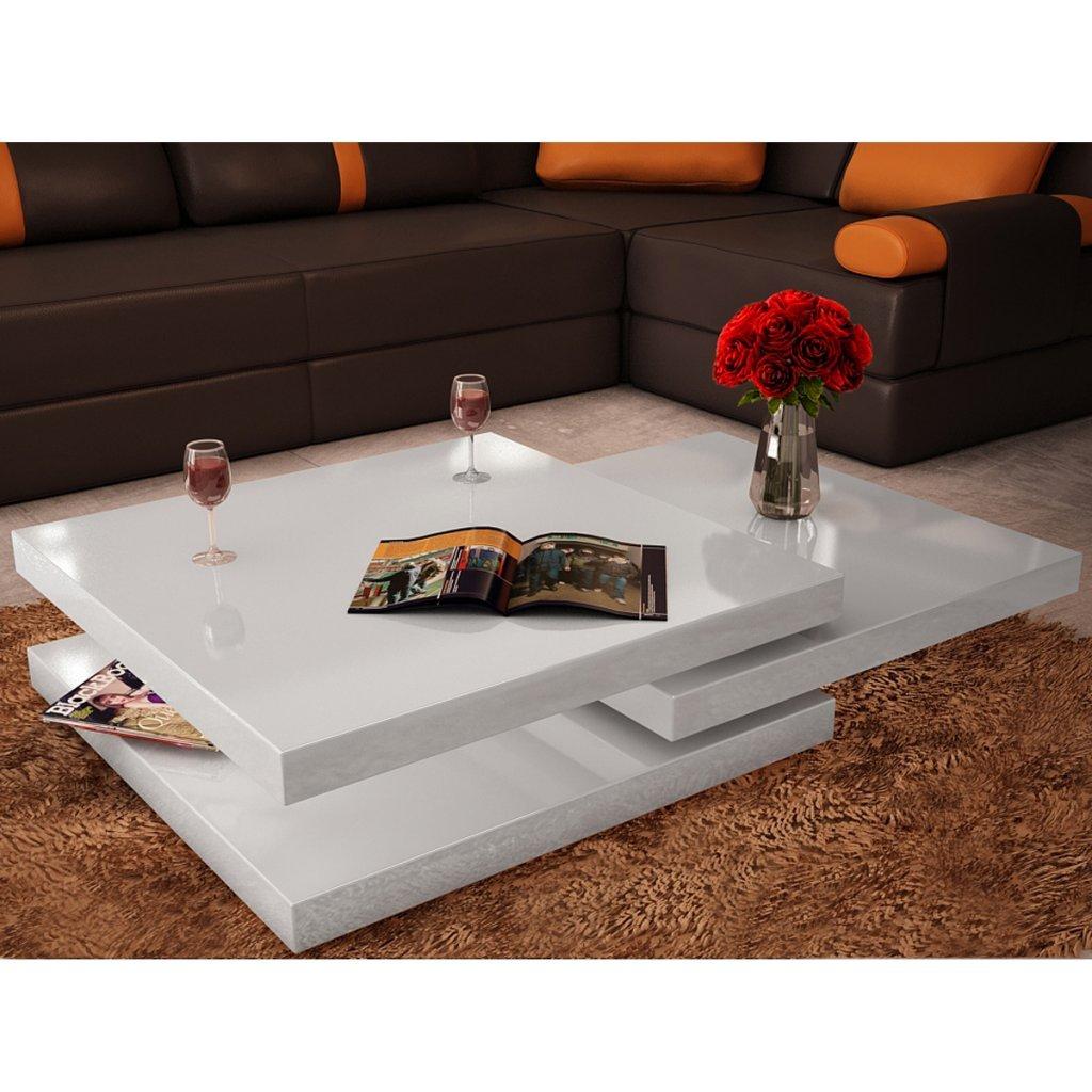 table Basse de Salon Carrée Pivotante avec 3 Plateaux pa cher