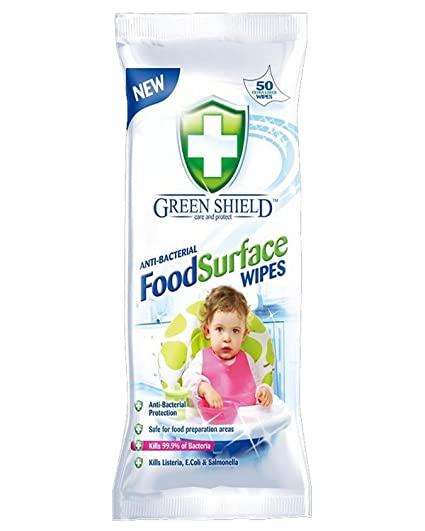 Greenshield Anti Bacterial Food Surface Wipes - Pack of 50