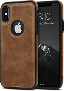 USLOGAN Vegan Leather Phone Case for iPhone Xs Max Luxury Elegant Vintage Slim Phone Cover 6.5 inch (Brown)