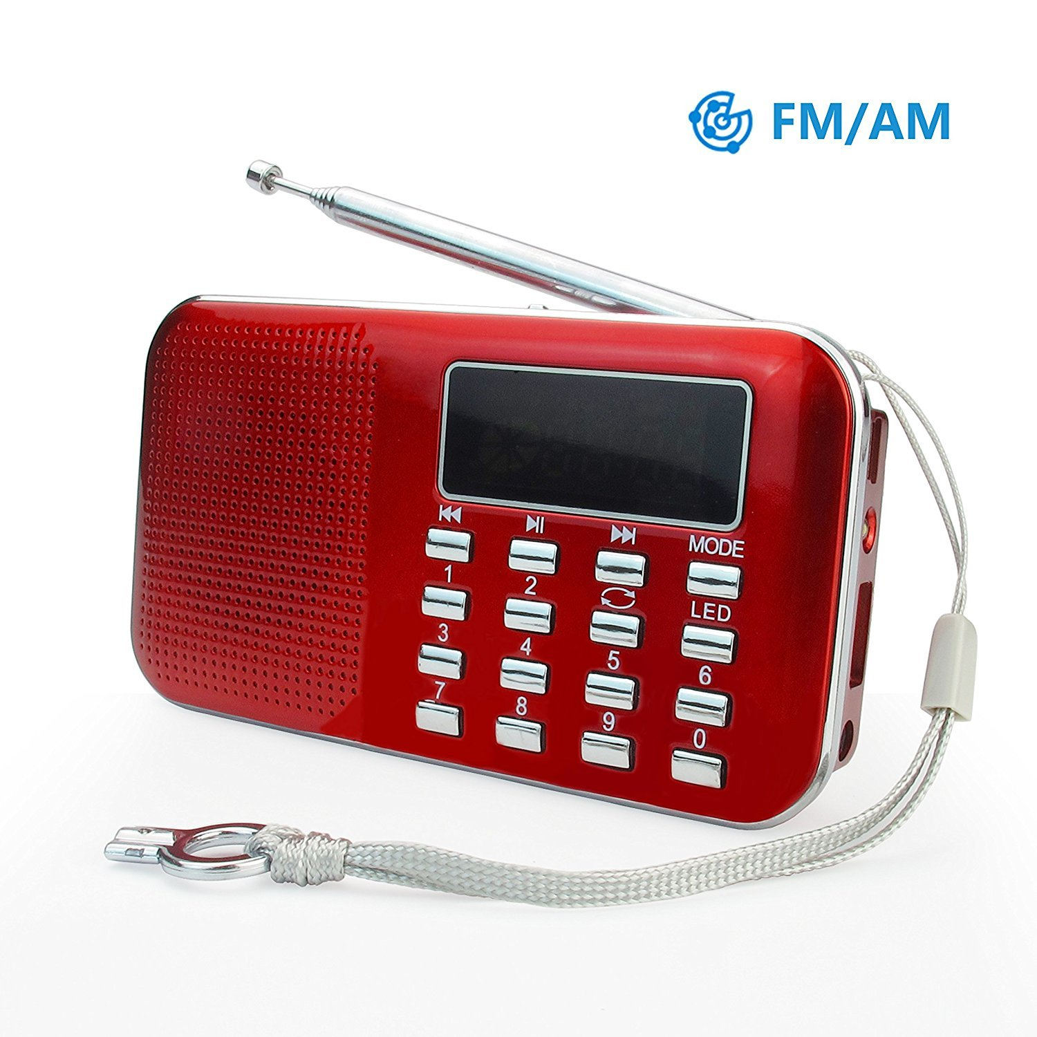 PRUNUS Mini Portable Ultrathin AM / FM MP3 Radio with Emergency flashlight function. Rechargeable and Replaceable battery. Long antenna. Stores stations automatically. Supports the following: Flash drive / Micro SD card / TF card (8GB, 16GB, 32GB, 64GB) to