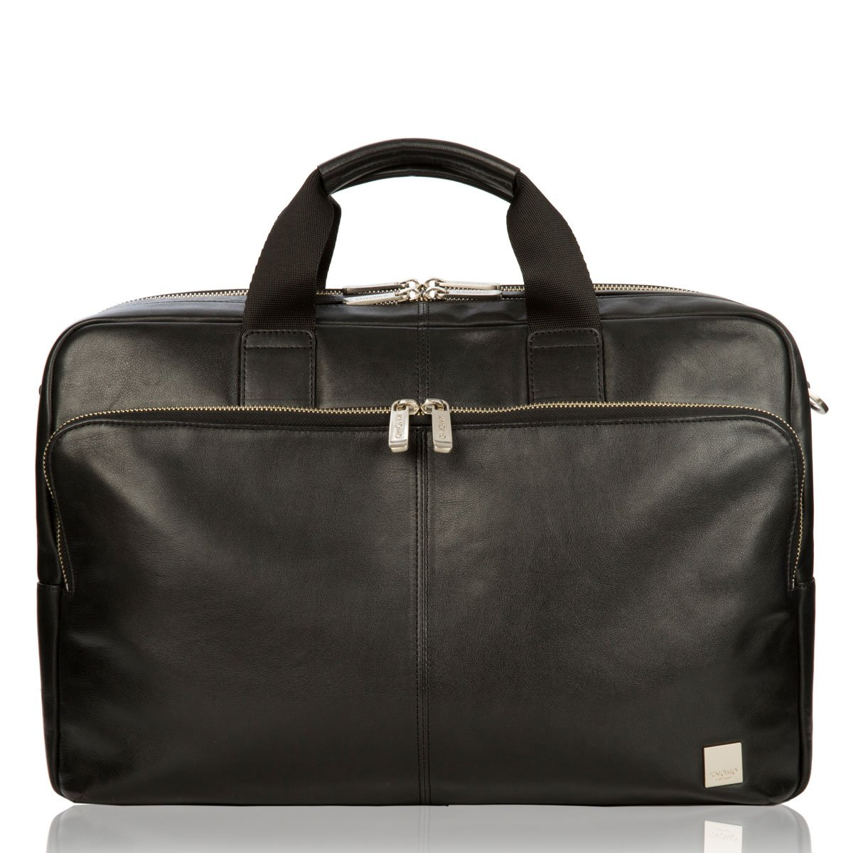 Black Knomo Luggage Amesbury Full Leather Double Zip Brief 15-inch
