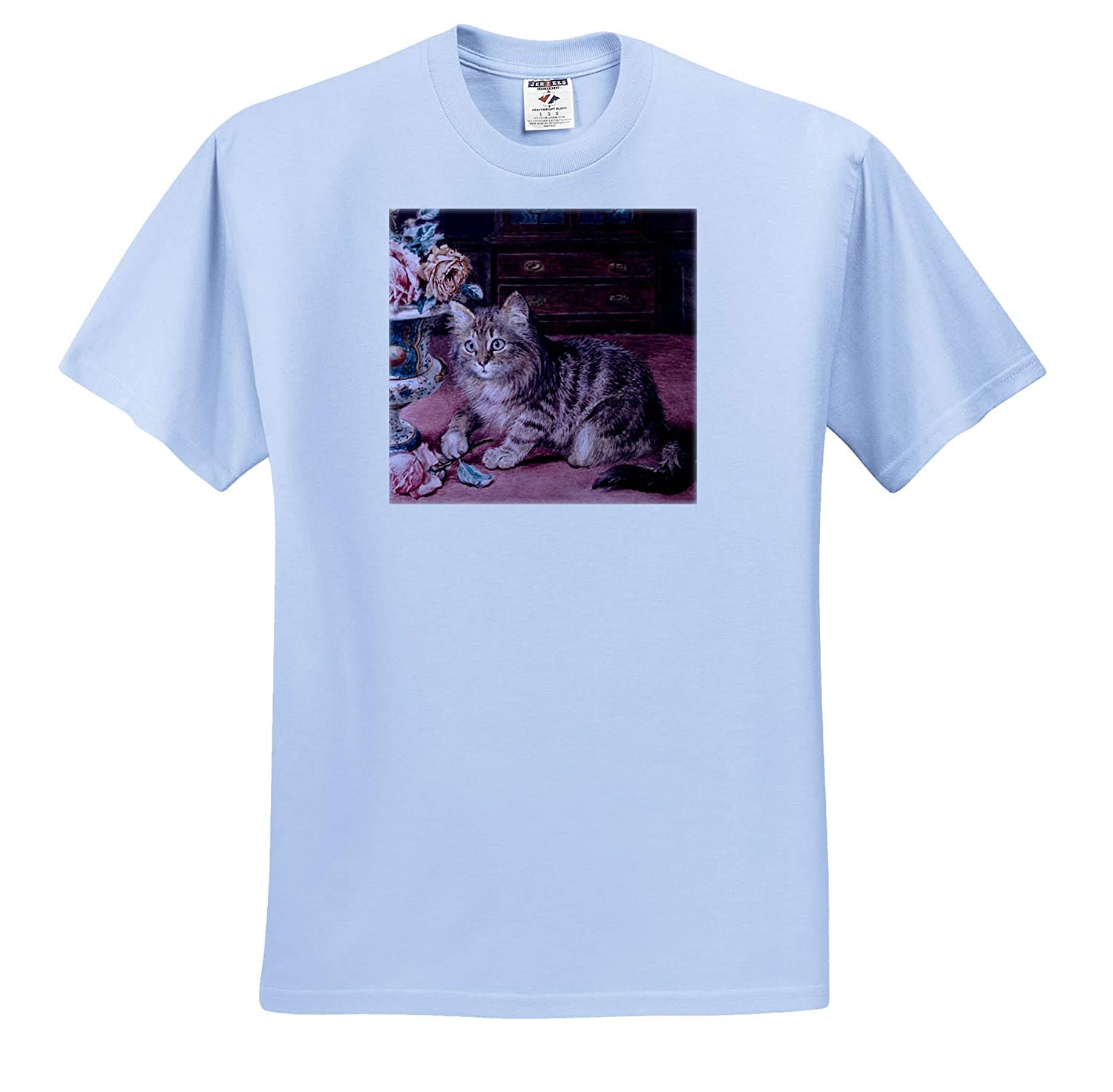 Wilson Hepple T-Shirts Kitten with Roses 3dRose VintageChest Cats
