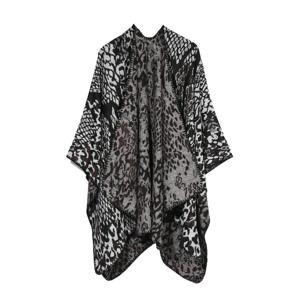 IEasⓄn Women Shawl Leopard Print Winter Warm Fashion Soft Cashmere Scarves Stylish Blanket Shawl Elegant Wrap Gray