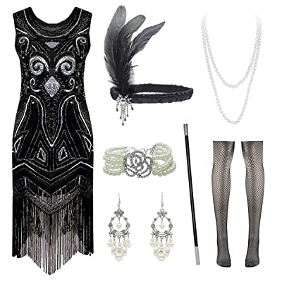 1920s Vintage Inspired Sequin Fringe Gatsby Flapper Dress with Accessories Set at Women's Clothing store