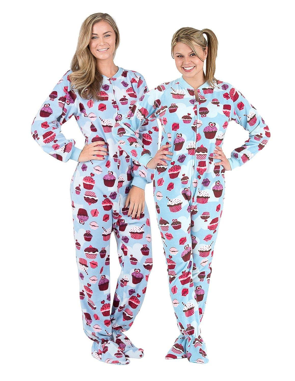 4fc9bef13 Amazon.com  Footed Pajamas - Blue Cupcakes Adult Fleece Onesie  Clothing