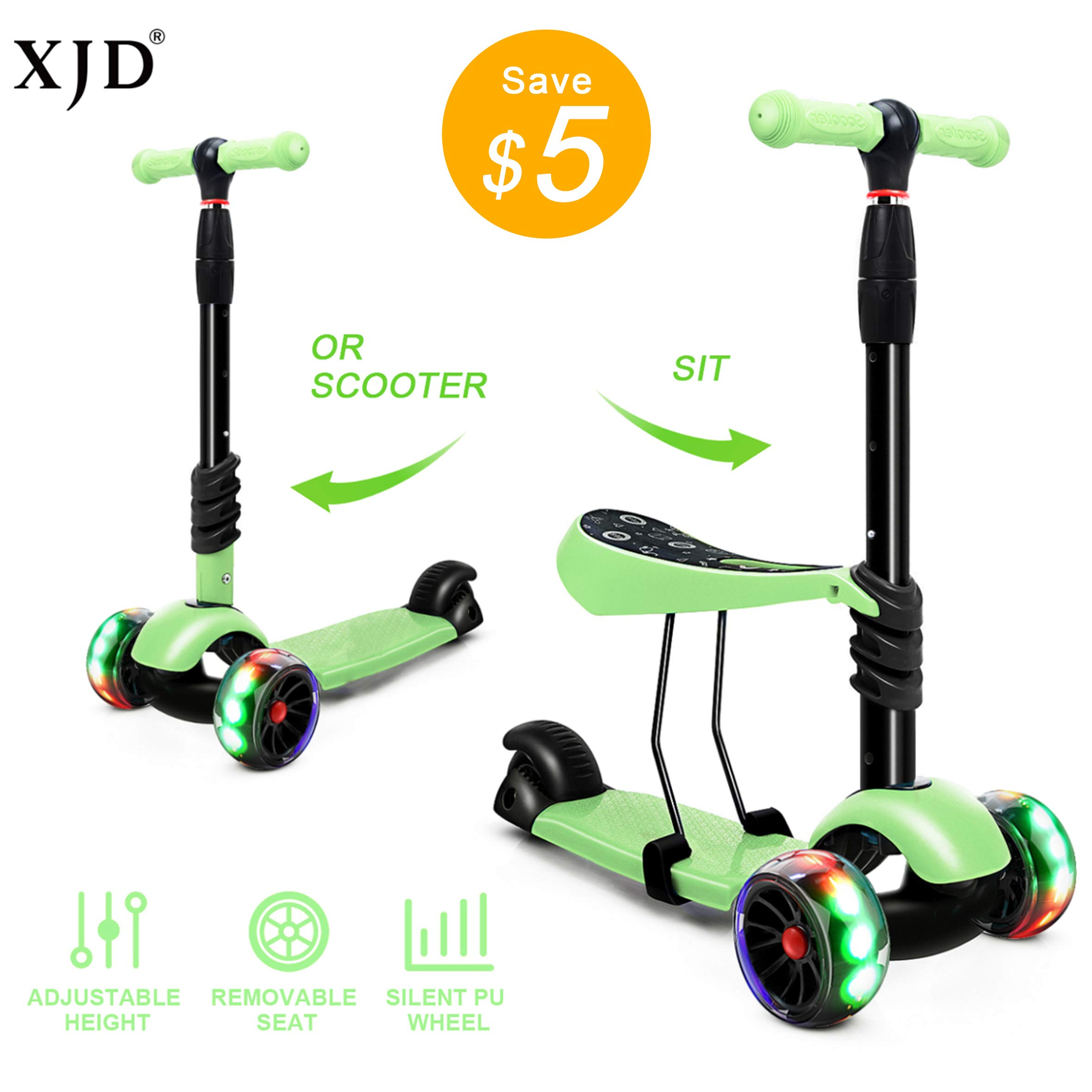 XJD 2 in 1 Scooter for Kids with Removable Seat Toddler Scooter for Boys Girls Adjustable Height PU Flashing Wheels Extra Wide Deck 3 Wheel Scooter for Children from 2 to 8 Years Old Green by XJD