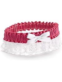 Hortense B. Hewitt Wedding Accessories Ribbon and Lace Garter, Espresso