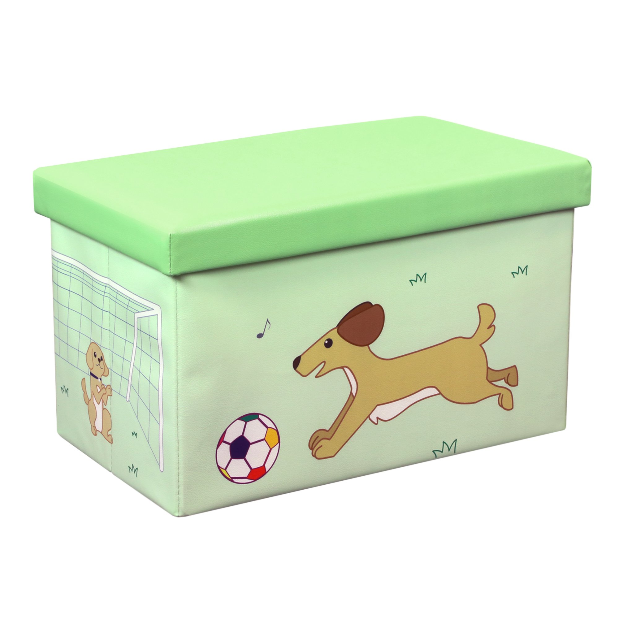 Otto & Ben 23'' Toy Box - Folding Storage Ottoman Chest with Foam Cushion Seat, Washable Faux Leather Foot Rest Stools for Kids, Dog and Ball