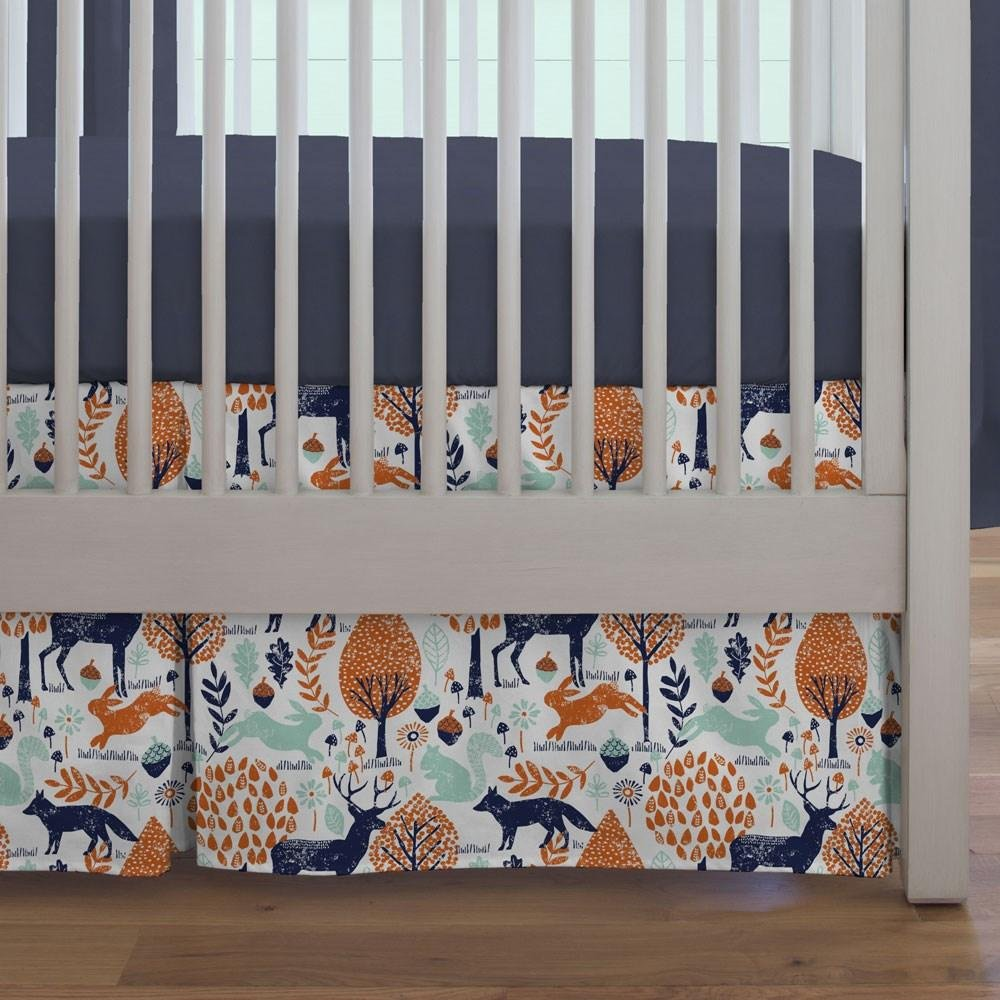Carousel Designs Navy and Orange Woodland Animals Crib Skirt Box Pleat 20-Inch Length
