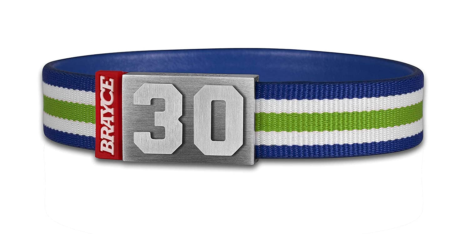 White /& Blue with Your Number 00-99 I The Jersey You Never take Off BRAYCE/® Team Bracelet Green