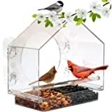 Nature Window Bird Feeder by Anywhere (Size:Large). Includes Free, Easy Removable Tray, 4 Heavy Duty Suction Cups, Drain Holes & Gorgeous Packaging.