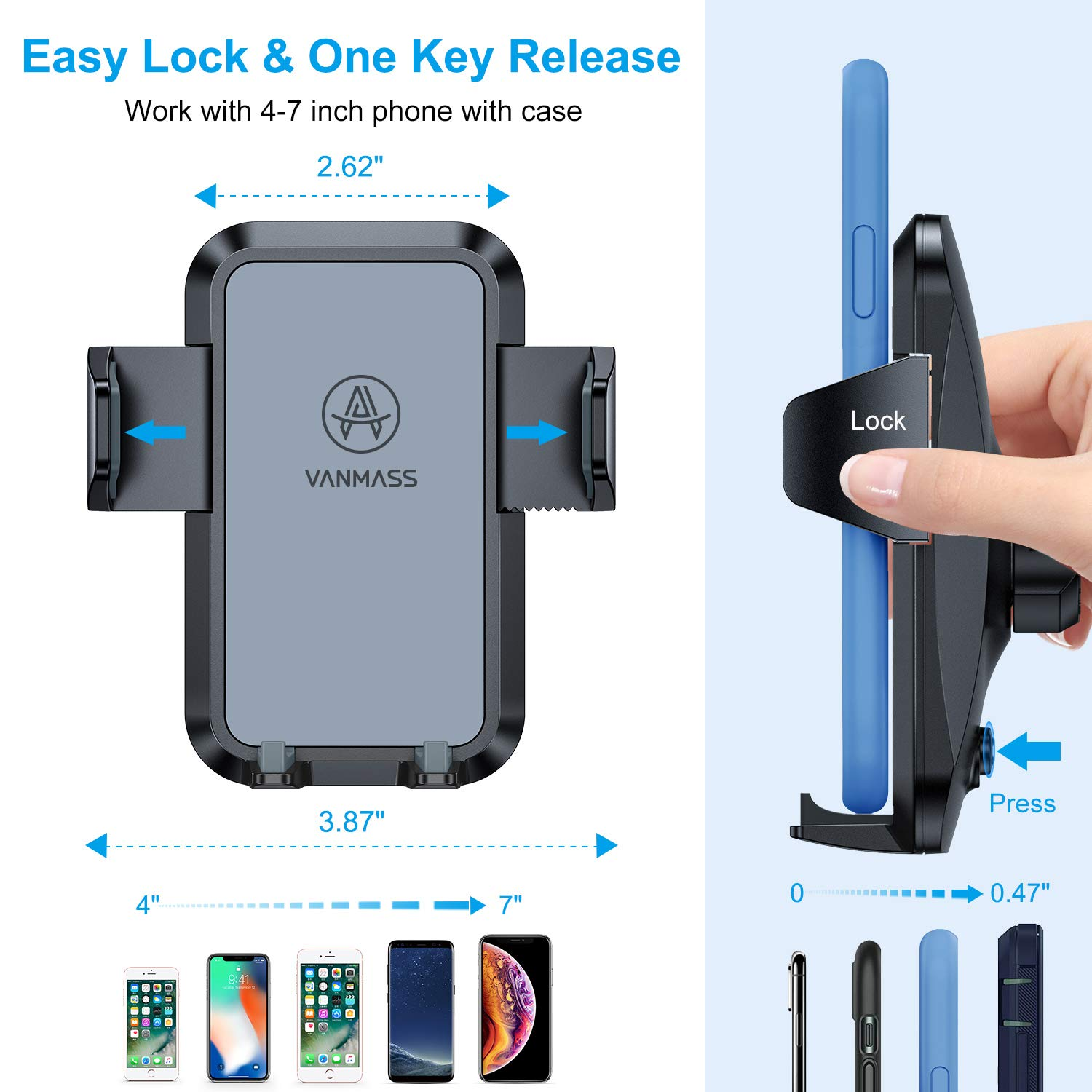Universal Air Vent Phone Holder for Car Fully Adjustable Vent Clip Compatible iPhone 11 Pro XR Xs Max X 8 Galaxy S10 S9 S8 S7 Google Etc Protective Rubber Materials VANMASS Car Phone Mount