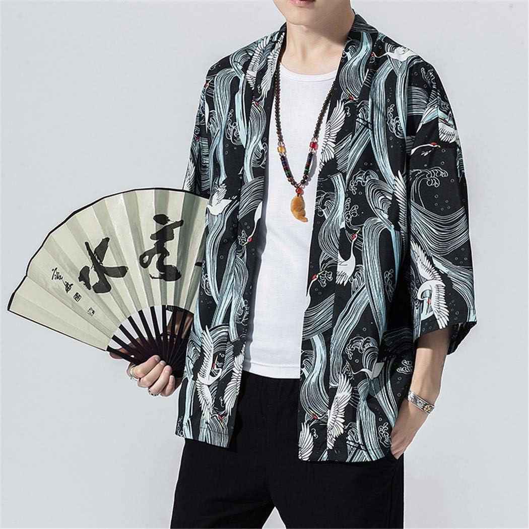 Cloak Chinese Style Cardigan Kimono Giapponese per Uomo Donne Casual Kimono Jacket MISSMAOM/_Fashion2019 Cappotto Uomo