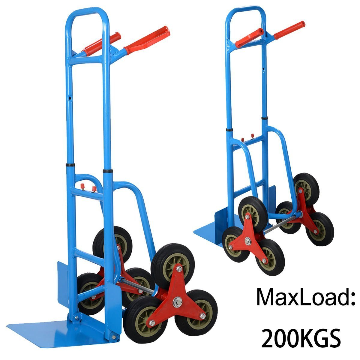 Costway Heavy Duty Hand Truck Sack Trolley Stair Climber Cart Flat 6 Wheel 200kg Capacity