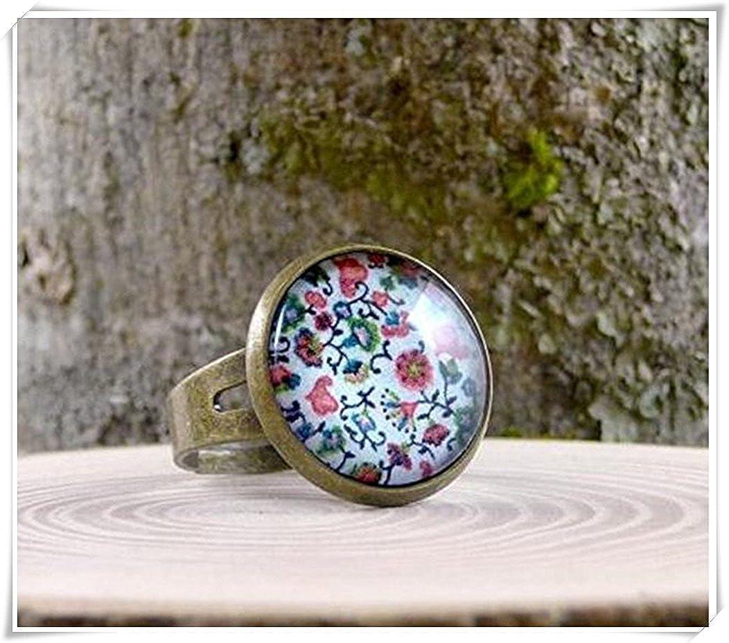 'Colorido Flores Anillo, anillo de latón envejecido joyas, multicolor ' Colorido Flores Anillo Black ae37