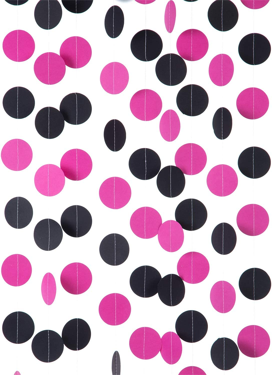 """WEVEN Hot Pink and Black Paper Garland Circle Dot Party Banner Streamer Backdrop Hanging Decorations, 2"""" in Diameter, 3 pcs, 30 Feet in Total"""