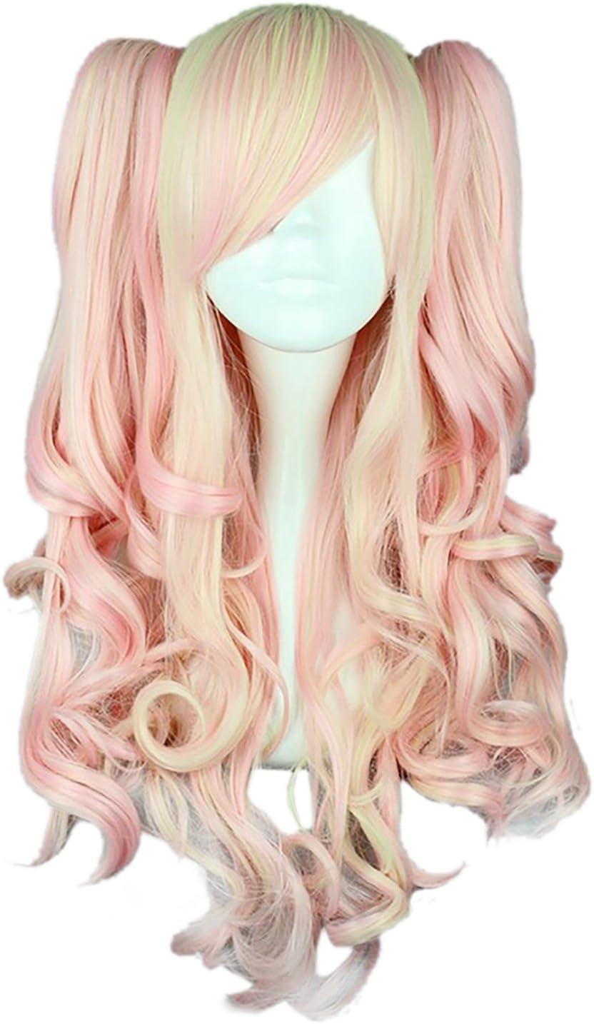 CLOCOLOR Cosplay Costume Peluca de Dos Colas de Caballo Peinado para Mujer Chica Peluca de Pelo Rizado Sintético Natural Postizo Largo Rizado Infantil Halloween Club Color Rosa Claro