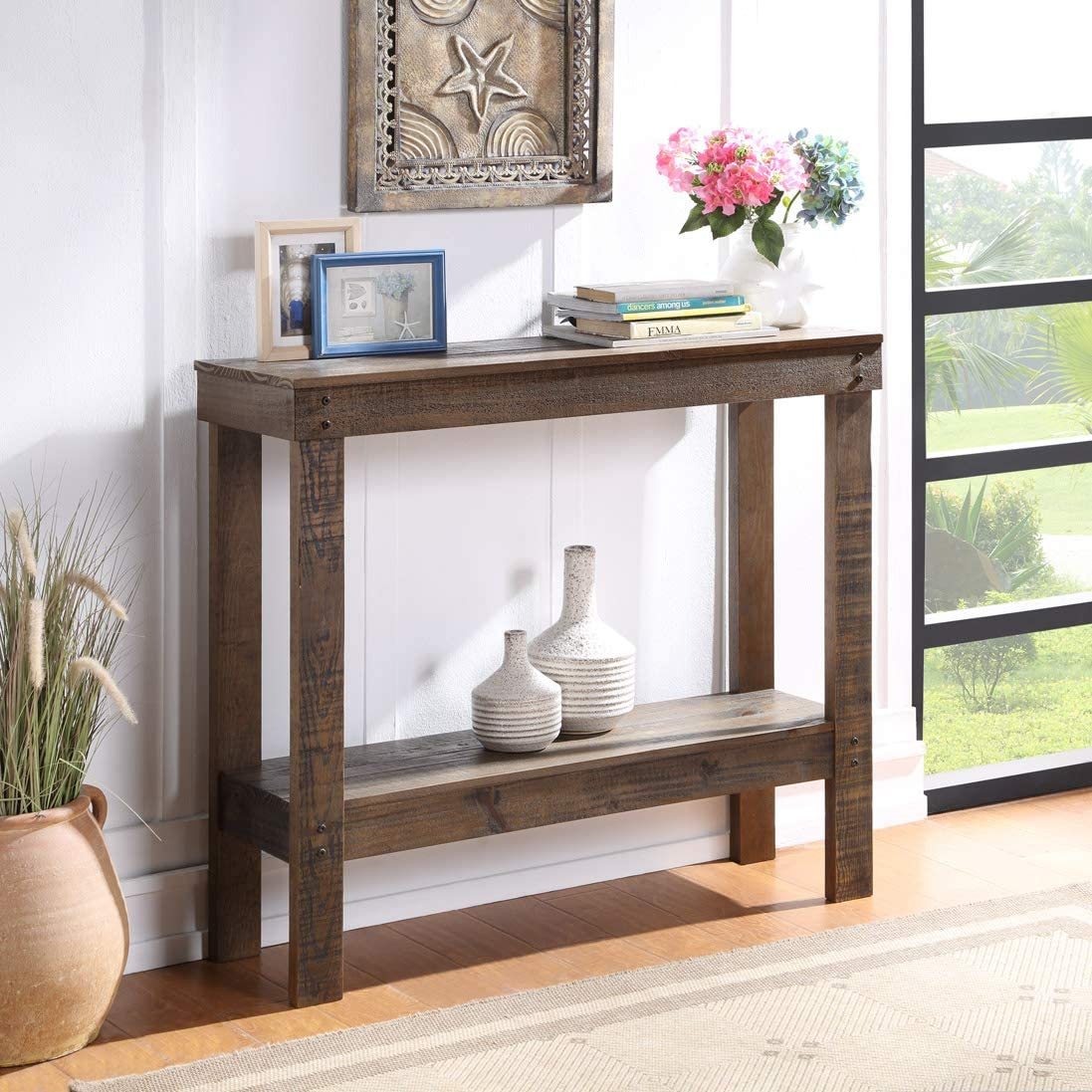 Console Table 2 Tier for Entryway, Farmhouse Rustic Entryway Table Narrow Long with Bottom Shelf for Hallway Foyer Living Room, 2 Shelf, Solid Wood, Dark Brown
