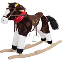 Baybee Unicorn Horse Wooden Plush Rocking Horse with Realistic Sounds | Safely Holds Children ( Black )