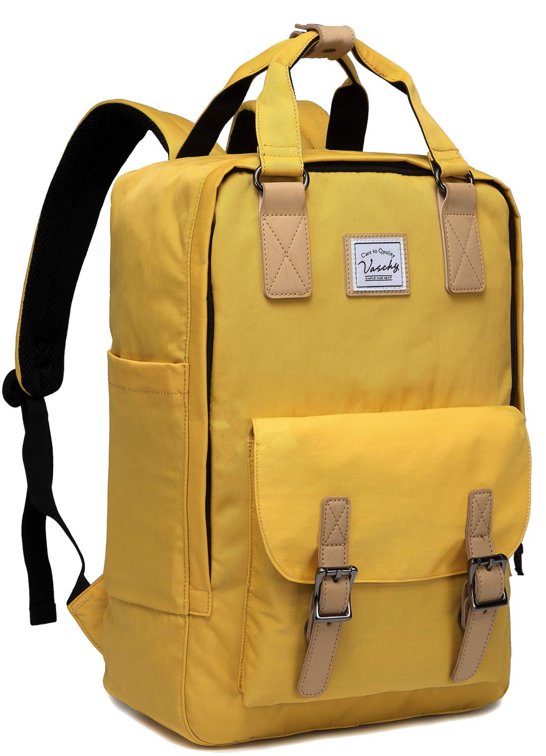 Laptop Backpack for Men and Women,VASCHY Unisex Vintage Water Resistant Casual Daypack Rucksack Bookbag for School College Yellow by VASCHY