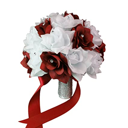 amazon com bridal bouquet apple red white with ribbon and