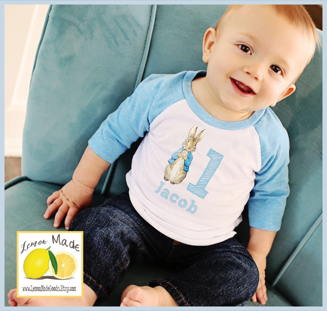 Peter Rabbit shirt with name and birthday digit