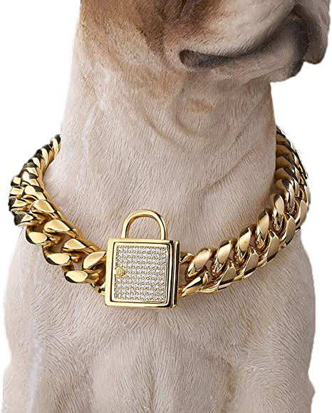 Collar choker mesh gourmette chain convict alternating gold stainless steel large stainless steel toggle clasp