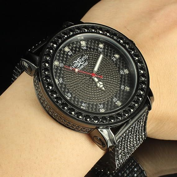 Kronos funda hombres de acero completo Real diamante Iced Out banda reloj negro elegante venta