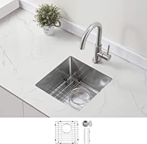 """ZUHNE Undermount Kitchen Bar Prep and RV 16 Gauge Stainless Steel Sink (16"""" W x 16"""" D x 8"""" H)"""