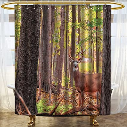 PRUNUSHOME Deer Shower Curtain Whitetail Antlers Natural Forest Decorations Polyester Fabric Bathroom Set With