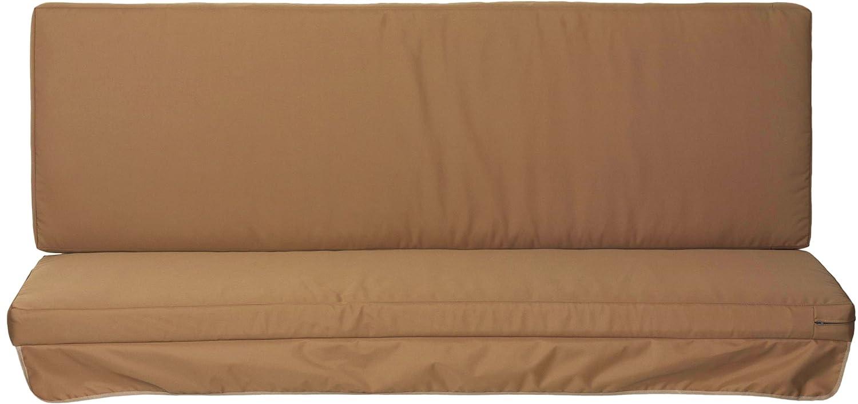 Hollywoodschaukel Comfort Schaukelauflage Kissen 3 Sitzer Sandfarben mit wasserabweisendem Polyesterstoff und Abnehmbaren Bezug beo