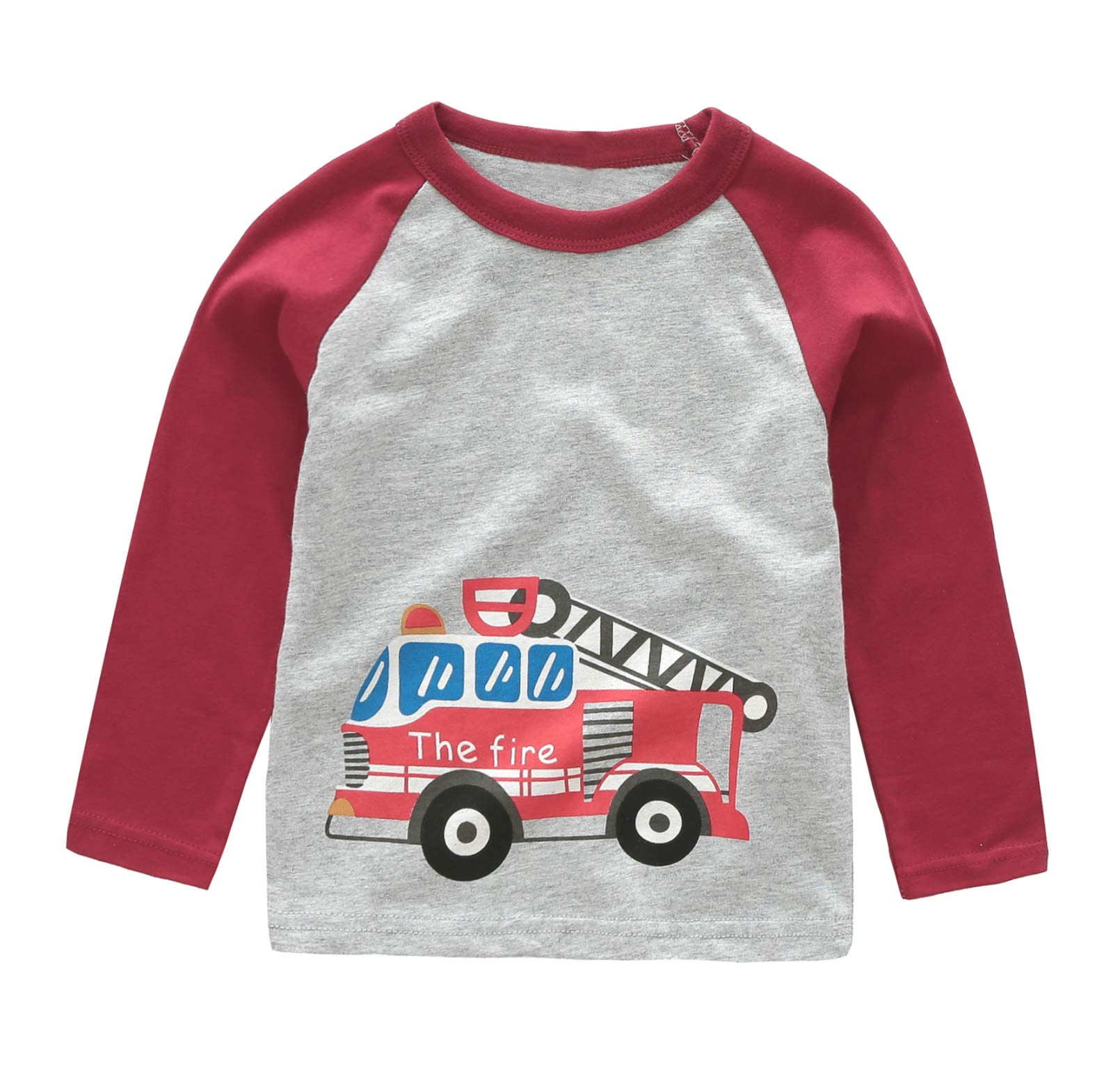 Boys Long Sleeve Cotton T-Shirts Fire Truck Shirt Graphic Tees 5T