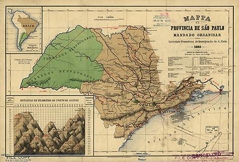 Sao Paulo State Map.Amazon Com Map 1886 Pa Da Provinica De Sao Paulo Brazil Sao Paulo