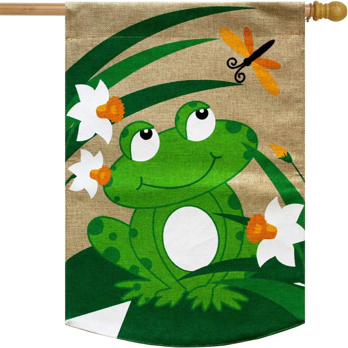 Briarwood Lane Happy Frog Burlap Summer House Flag 28 X 40 Garden Outdoor