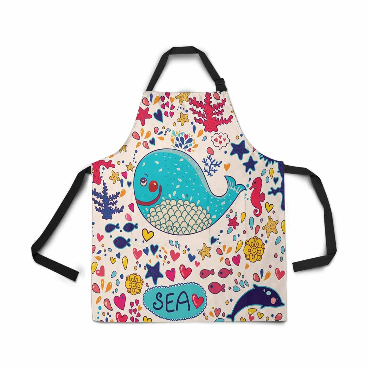 InterestPrint Adjustable Bib Apron for Women Men Girls Chef with Pockets, Cute Elephant Flower Novelty Kitchen Apron for Cooking Baking Gardening Pet Grooming Cleaning DG52877D