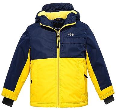 Wantdo Boy s Warm Windproof Skiing Jacket Fleece Lined Hoodies Short  Parka(Dark Blue+Yellow bf7029618