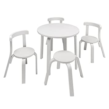 Swell Kids Table And Chair Set Svan Play With Me Toddler Table Set With 3 Chairs And Stool 100 Wood White Download Free Architecture Designs Jebrpmadebymaigaardcom