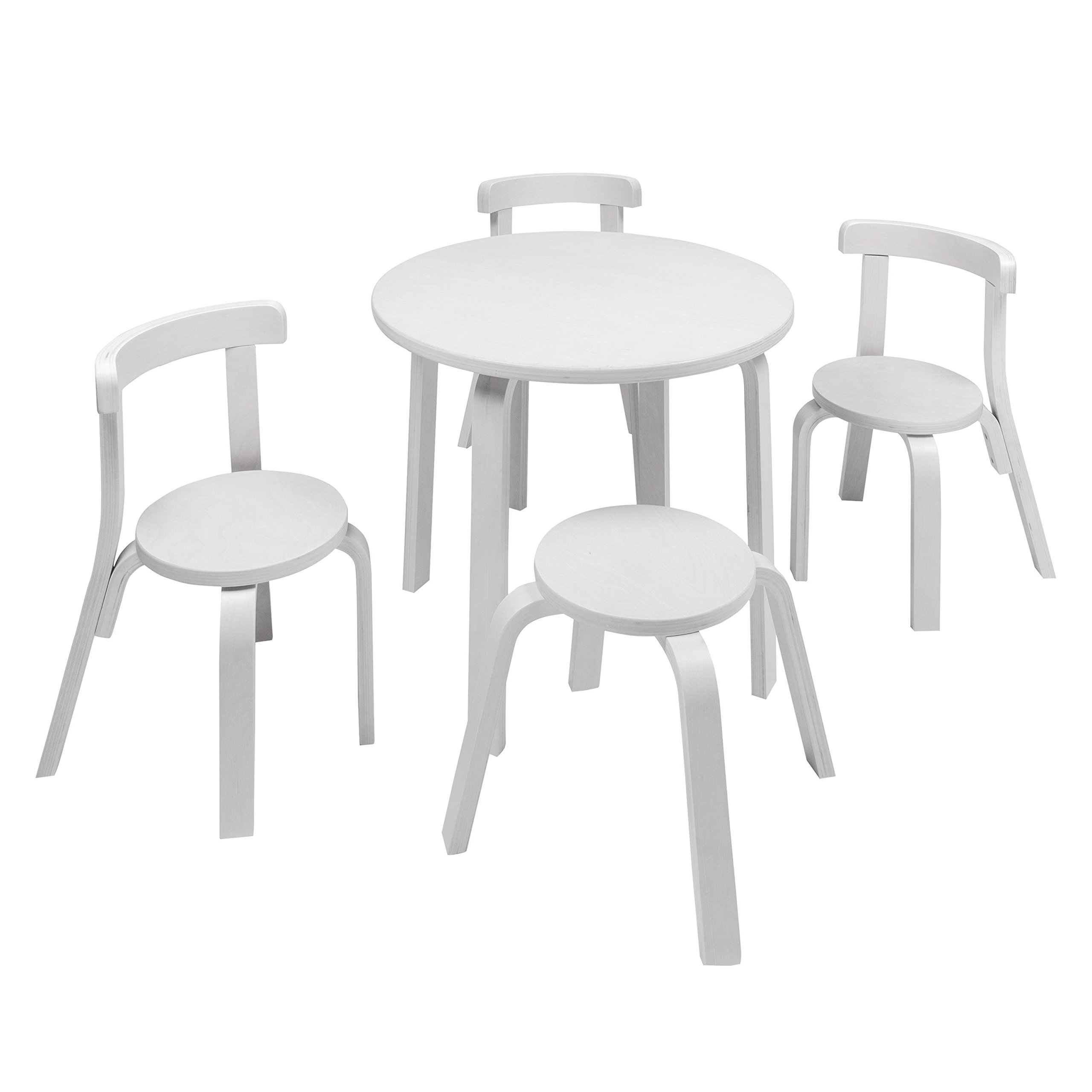 Kids Table and Chair Set - Svan Play with Me Toddler Table Set with 3 Chairs and Stool - 100% Wood (White) by Svan (Image #1)