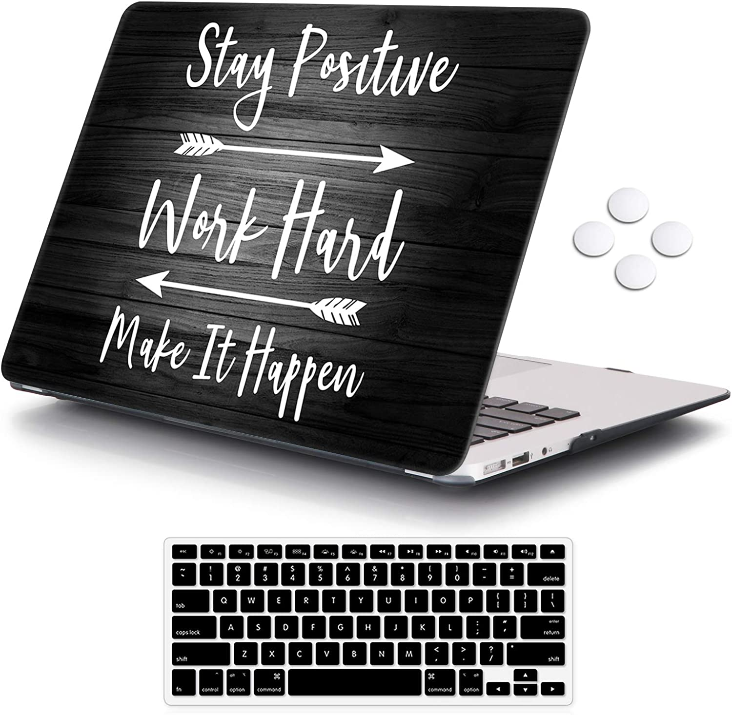 iCasso Macbook Air 11 inch Case Model A1370/A1465, Ultra Slim Pattern Plastic Hard Shell Case Protective Cover Compatible MacBook Air 11'' with Keyboard Cover - Stay Positive