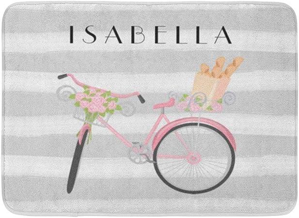 LnimioAOX Alfombrilla de baño Chic Rosa Bicicleta Francés Gris ...