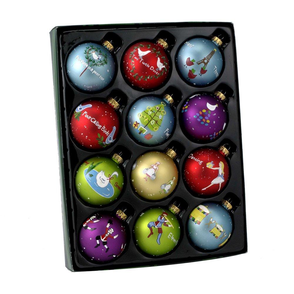 Kurt Adler Twelve Days of Christmas Ball Ornament, 65mm, Set of 12