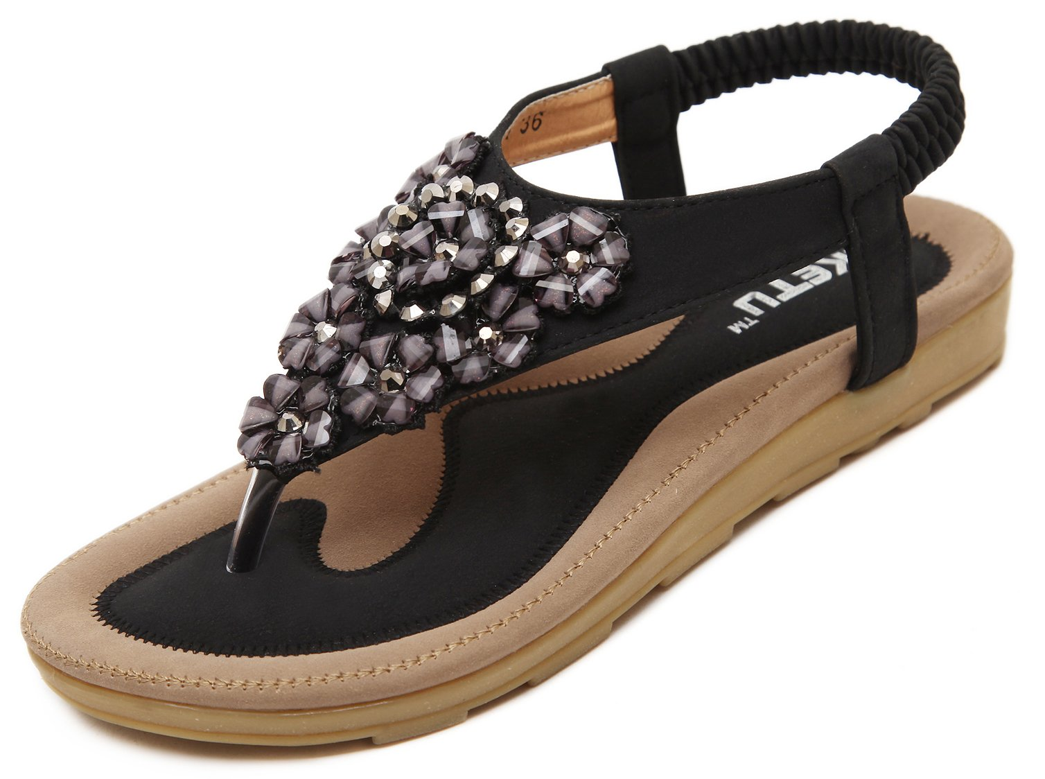 Women's Glitter T-Strap Sandals, Bohemian Summer Flat Sandals, Black Floral Rhinestone Gem Elastic Back Strap, Comfy Shoes Dressy Casual Jeans Daily Wear Beach Holiday Vacation Everyday Blingbling