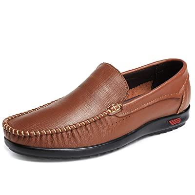 xinluoniya Men's Leather Slip On Penny Loafers Driving Shoes Comfortable Moccasins | Loafers & Slip-Ons